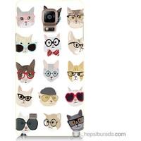 Bordo Samsung Galaxy Note 4 Gözlüklü Kediler Baskılı Silikon Kapak Kılıf