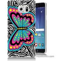Bordo Samsung Galaxy Note 5 Çizim Kelebek Baskılı Silikon Kapak Kılıf