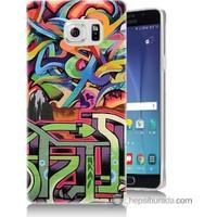 Bordo Samsung Galaxy Note 5 Karışık Görsel Baskılı Silikon Kapak Kılıf