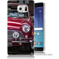 Bordo Samsung Galaxy Note 5 Kırmızı Klasik Araba Baskılı Silikon Kapak Kılıf