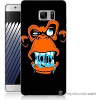 Bordo Samsung Galaxy Note 7 Turuncu Goril Baskılı Silikon Kapak Kılıf