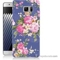 Bordo Samsung Galaxy Note 7 Renkli Çiçekler Baskılı Silikon Kapak Kılıf