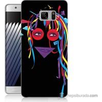 Bordo Samsung Galaxy Note 7 Renkli Kız Baskılı Silikon Kapak Kılıf