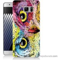Bordo Samsung Galaxy Note 7 Tatlı Baykuş Baskılı Silikon Kapak Kılıf