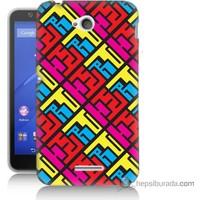 Bordo Sony Xperia E4G Çizimler Baskılı Silikon Kapak Kılıf