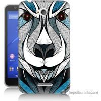 Bordo Sony Xperia E4G Öfkeli Ayı Baskılı Silikon Kapak Kılıf