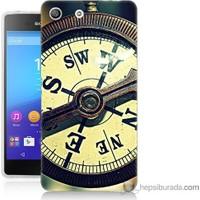 Bordo Sony Xperia M5 Pusula Baskılı Silikon Kapak Kılıf