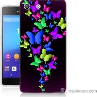 Bordo Sony Xperia M5 Renkli Kelebekler Baskılı Silikon Kapak Kılıf