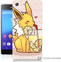 Bordo Sony Xperia M5 Sevimli Pokemon Baskılı Silikon Kapak Kılıf