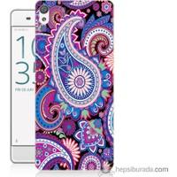 Bordo Sony Xperia Xa Renkli Çizim Baskılı Silikon Kapak Kılıf