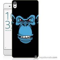 Bordo Sony Xperia Xa Mavi Goril Baskılı Silikon Kapak Kılıf