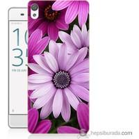 Bordo Sony Xperia X Mor Çiçek Baskılı Silikon Kapak Kılıf