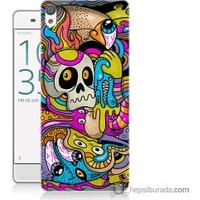 Bordo Sony Xperia Z5 Renkli Resim Baskılı Silikon Kapak Kılıf