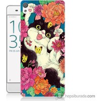 Bordo Sony Xperia Z5 Mutlu Kedicik Baskılı Silikon Kapak Kılıf