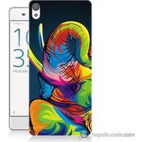 Bordo Sony Xperia Z5 Compact Renkli Fil Baskılı Silikon Kapak Kılıf