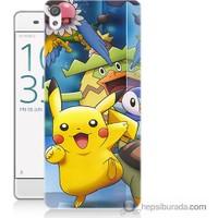 Bordo Sony Xperia Z5 Compact Pikachu Ve Arkadaşları Baskılı Silikon Kapak Kılıf