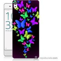 Bordo Sony Xperia Z5 Mini Renkli Kelebekler Baskılı Silikon Kapak Kılıf
