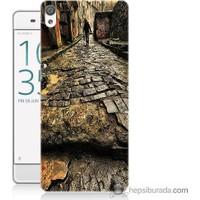Bordo Sony Xperia Z5 Premium Arnavut Kaldırım Baskılı Silikon Kapak Kılıf