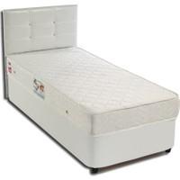 Tek Kişilik Sandıklı Beyaz Deri Baza + Başlık + Yatak Full Set - 90X190 Beyaz