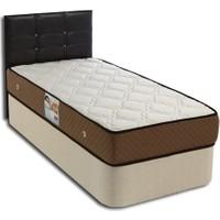 Tek Kişilik Sandıklı Kumaş Baza + Başlık + Ultra Ortopedik Yatak Full Set - 90X190 Siyah