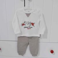 Bibaby 59329 Ayıcıklı Çizgili 2li Bebek Takımı