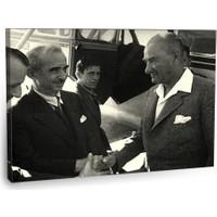 Fotografyabaskı Atatürk Ve İsmet İnönü Tablosu 75 Cm X 50 Cm Kanvas Tablo Baskı
