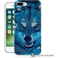 Teknomeg iPhone 7 Plus Kılıf Kapak Mavi Kurt Baskılı Silikon