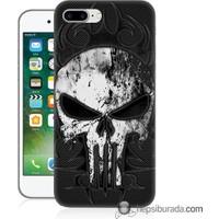 Teknomeg iPhone 7 Plus Kapak Kılıf Punnisher Kurukafa Baskılı Silikon