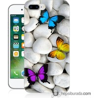 Teknomeg iPhone 7 Plus Kılıf Kapak Kelebekler Baskılı Silikon