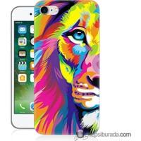 Teknomeg iPhone 7 Kılıf Kapak Renkli Aslan Baskılı Silikon