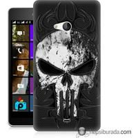 Teknomeg Microsoft Lumia 540 Kapak Kılıf Punnisher Kurukafa Baskılı Silikon