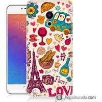 Teknomeg Meizu Pro 6 Kapak Kılıf Paris Love Baskılı Silikon