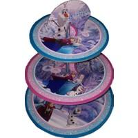 Karton 3 Katlı Cupcake Standı Frozen Temalı Kek Standı
