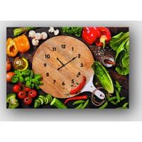 Artredgallery Yiyecek İçecek Saatli Tablo
