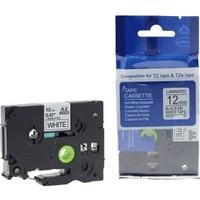 Sarf Muadil Brother P-Touch Tz-Tape 12Mm Beyaz-Siyah Etiket 12Tze-231