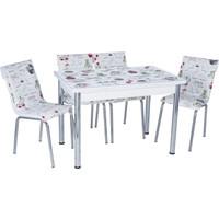 Aras Fincan Açılır Camlı Masa Takımı (6 Sandalye)