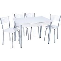Aras Parlak Beyaz Açılır Eko Masa Takımı (4 Sandalye)