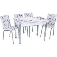 Aras Lila Çiçek Açılır Camlı Masa Takımı (6 Sandalye)
