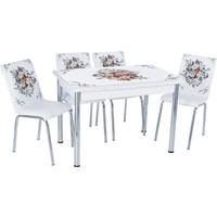 Aras Çiçek Sepeti Açılır Camlı Masa Takımı (6 Sandalye)