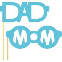Dad Mom Gözlük Konuşma Balonu Parti Çubukları Mavi