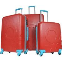 Benetton 3'Lü Büyük Orta Ve Kabin Boy Kırmızı Valiz Seti 0159