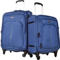 Pierre Cardin 2'Li Kumaş Valiz Seti Orta Ve Kabin Boy Mavi 9900