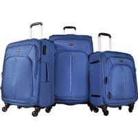 Pierre Cardin 3'Lü Kumaş Valiz Seti Mavi 9900
