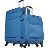 Pierre Cardin 2'Li Kumaş Valiz Seti Büyük Ve Kabin Boy Mavi 2300