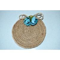 Şahika Tasarım - Mavi Çiçekli Urgan Halat Dolamalı Bardak Altlığı