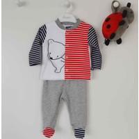 Premom 1392A Çizgili Ayıcık Patikli Erkek Bebek Takım