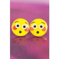 Çınar E-Ticaret Emoji Tasarımlı Şaşkın Yüz İfadeli Sarı Yuvarlak Kadın Küpe Modeli