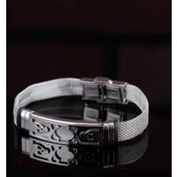 Çınar E-Ticaret Gri Renk Silver Renk Çelik Kuru Kafa Tasarım Erkek Bileklik