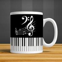 İf Dizayn Piyano Müzik Baskılı Kupa Bardak