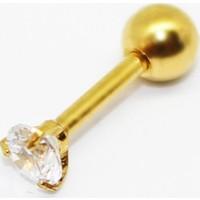 Cadının Dükkanı 316L Cerrahi Çelik Taşlı Sarı Kulak Piercing
